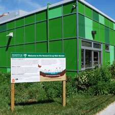 photo of a green square building that is next to a community garden