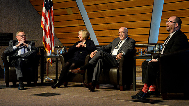 Panel discussion with former Council Chairs Ted Mondale, Susan Haigh, and Curt Johnson with moderator Brian McDaniel.