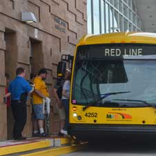 photo of people entering the Red Line bus