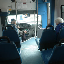 photo of Transit Link driver and rider inside a Transit Link bus