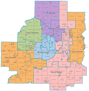 Map of Council Districts and the Sector Rep assigned to each district. Link to larger map.