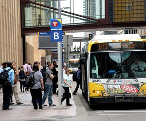 Downtown Minneapolis, Marquette Avenue. Transit ridership is highest in Transit Market Area 1.