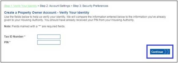 Verify your identity with your Tax ID and Pin