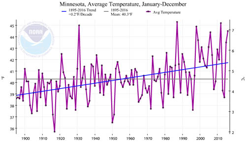 Graph of Minnesota's average temperature from 1900 to today.