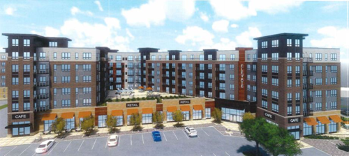 Rendering of Elevate project in Eden Prairie near the Green Line Southwest Station near Technology Drive and Prairie Center Drive.