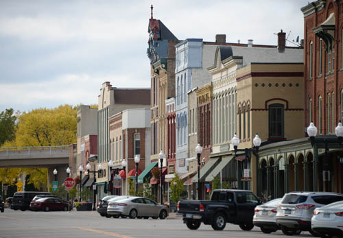 Historic buildings grace downtown Hastings.