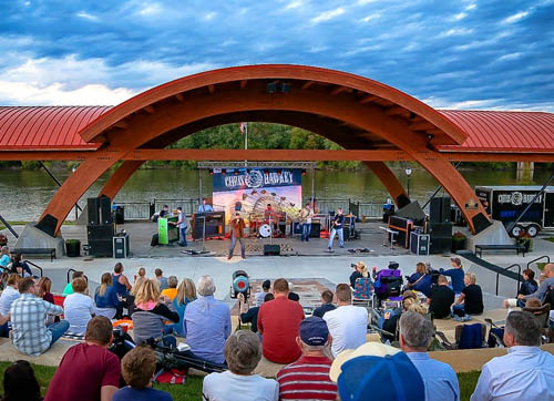 Music fans enjoy an outdoor concert at the Riverfront Pavilion in downtown Hastings. (Photo by Kelly Karnish, Kix Photography, via City of Hastings)
