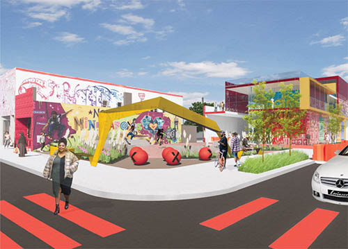 Architect's rendering of the redevelopment of Juxtaposition Art, a nonprofit youth art and design education enter and gallery, in North Minneapolis. The project received a $1.1 million Livable Communities grant.