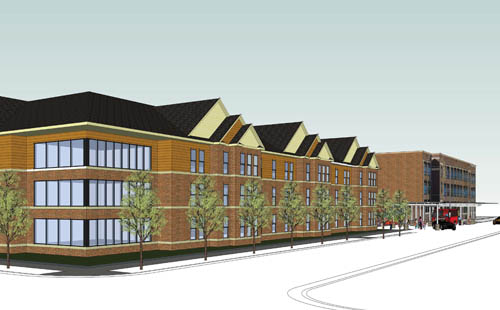 Architectural rendering of new housing adjacent to Sabathani Center in Minneapolis.