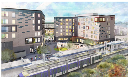 Rendering of PLACE , a mixed-used development at Hwy. 7 and Wooddale Ave. in St. Louis Park, near Green Line Wooddale Station.