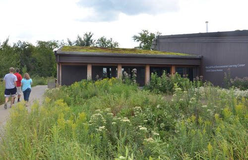 Visitors stroll past native prairie plants outside Savage's McColl Pond Environmental Learning and Event Center.