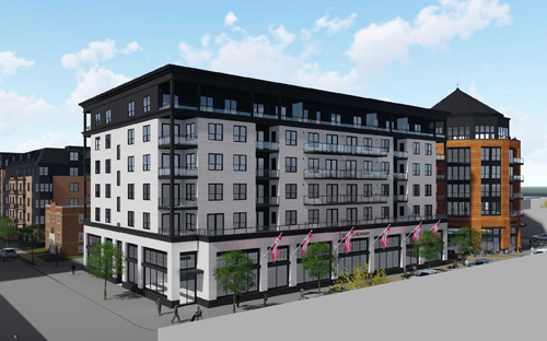 The former Sons of Norway property in the Uptown neighborhood of Minneapolis is being redeveloped into 317 market-rate apartments, and office and retail space