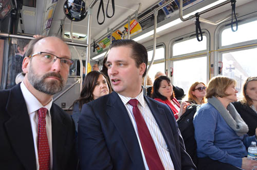In the first months of his term as Council Chair, Adam Duininck toured the region to meet with local elected officials. Here he speaks with Will Schroeer of East Metro Strong in a bus tour of the Gateway Corridor.