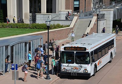 A Minnesota Valley Transit Authority bus picks up riders at the University of Minnesota. The committee found that the current regional transit model provides value in opportunities for local input.
