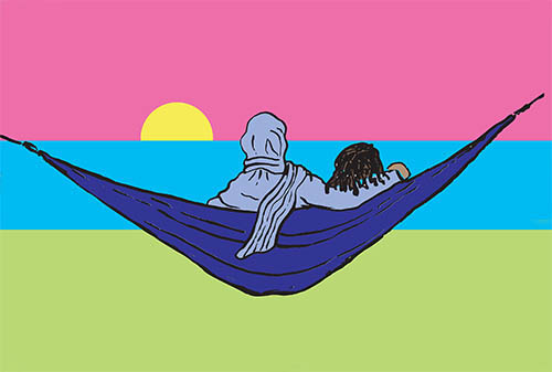 Graphic with two people in a hammock looking at the sun setting in a pink sky, with blue water and green land.