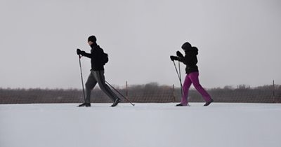 Two people cross-country skiing.