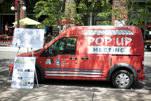 One of Lovelee's brainstorms as City Artist for the City of Saint Paul was Pop Up Meeting, which brought locally made popsicles to city residents and engaged them to comment on a variety of city plans.