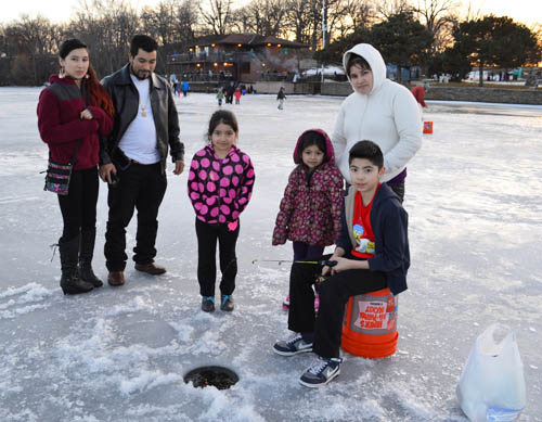 Partnerships is another strategy for connecting people and the outdoors. Saint Paul Parks & Recreation partnered with the TIPS Outdoor Foundation to sponsor a family ice fishing event at Phalen Freeze Fest. (Photo courtesy Saint Paul Parks & Receation)