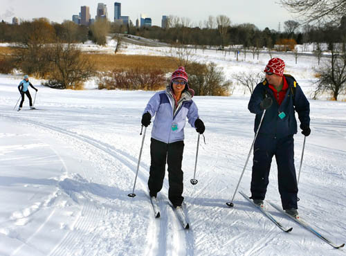 Cross country skiers on trail