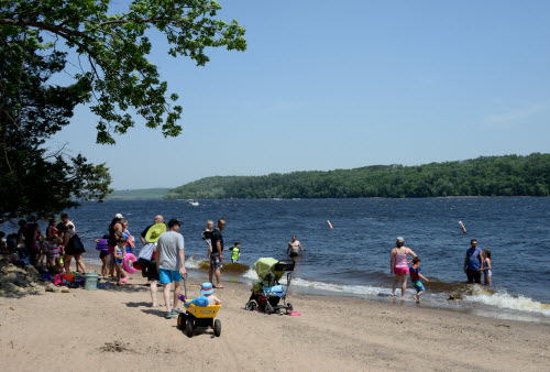 St. Croix Beach with families and children.