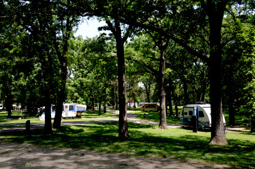 RV campers at St. Croix Bluffs Regional Park enjoy large shaded lots.