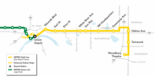Map of planned METRO Gold Line, bus rapid transit serving the East Metro.