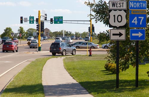 A portion of Foley Boulevard in Coon Rapids was reconstructed into a four-lane divided roadway with new signals and pedestrian bike trails.
