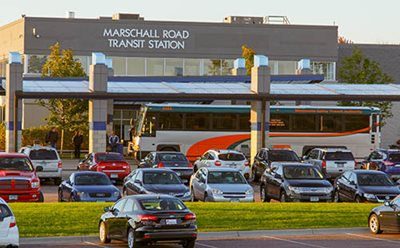 An MVTA bus at the Marschall Road Transit Station park-and-ride.