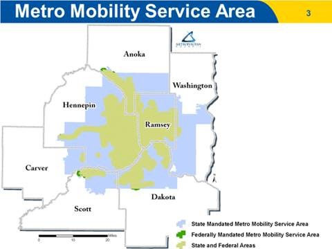 Metro Mobility State and Federally Mandated Service Areas in the Twin Cities 7-county metro area.