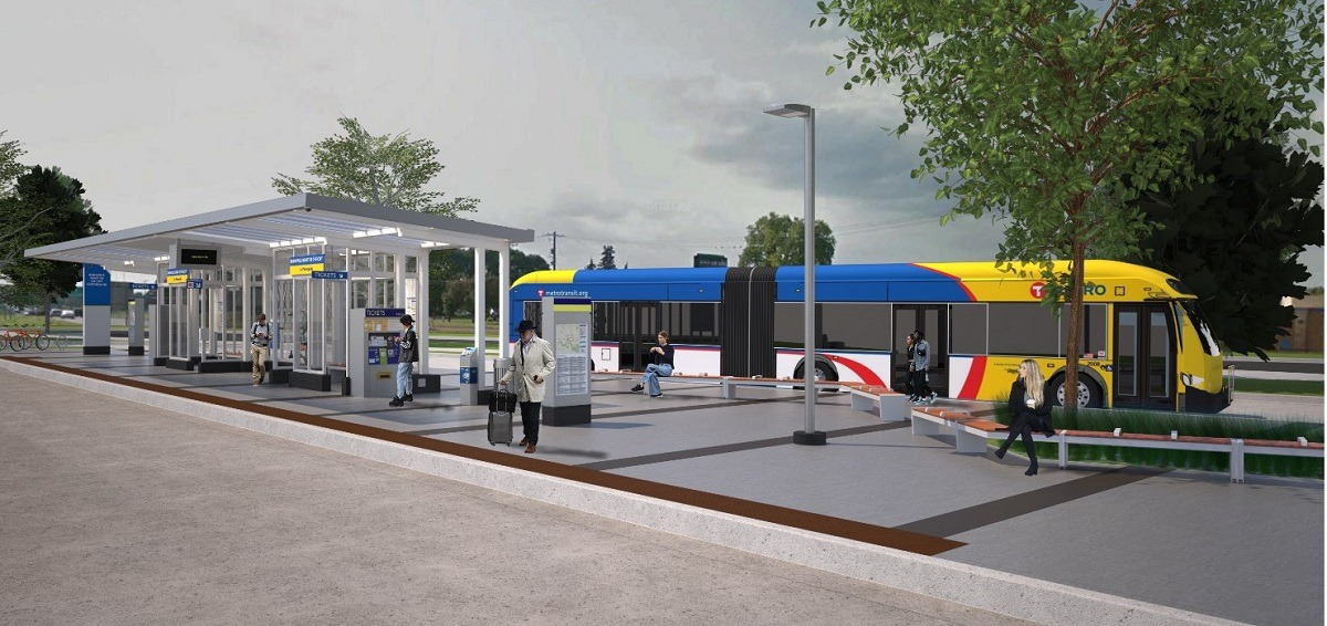 Rendering of an articulated bus at a transit stop.