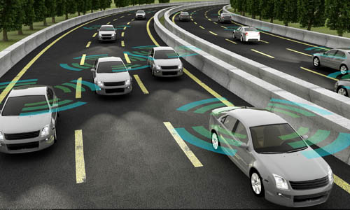 Rendering of autonomous vehicles on roadway.