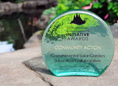 Environmental Initiative bestowed its Community Action award on the Governmental Solar Garden Subscriber Collaborative.