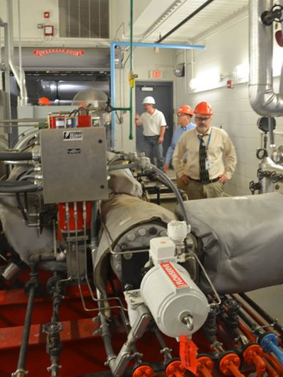 The turbine generators at the Metro Plant convert steam from waste heat boilers into electricity for the plant.