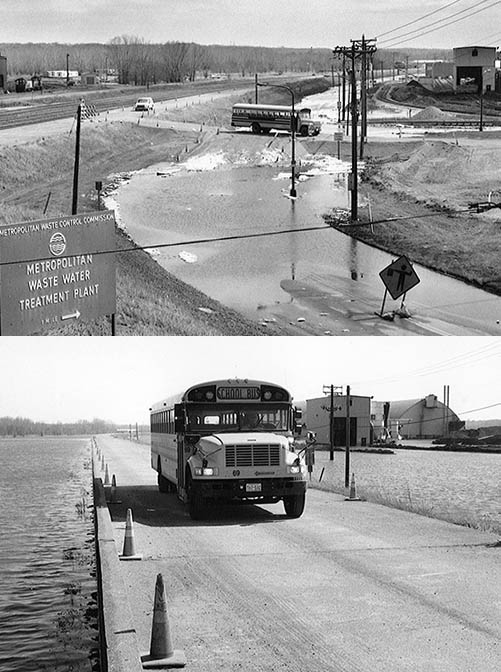 Black-and-white images of a school bus driving near the wastewater treatment plant.