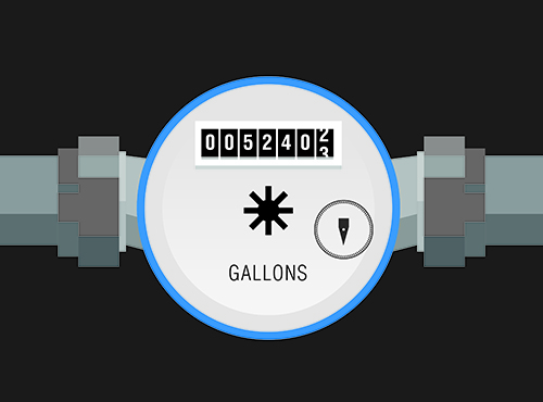 Illustration of a flow meter with a dial to show gallons.