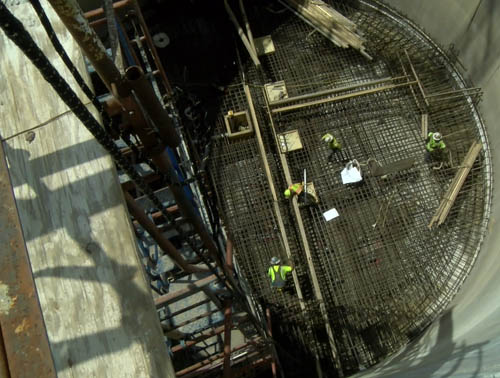 A view down into the lift station structure, under construction.