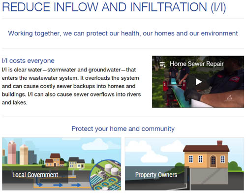 Council launches public outreach website on inflow and infiltration