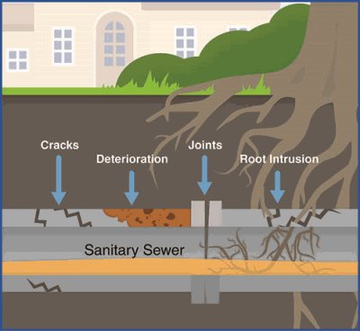Illustration of possible problems, from cracks to deterioration to joints to root intrusion.