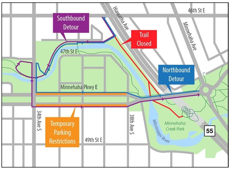 From the north, the trail detours south of 46th to the west on an existing path, south on 34th Avenue, and east on Minnehaha Parkway. Northbound route is reversed.