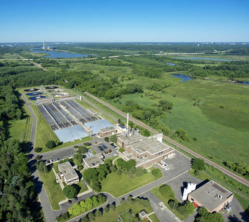 Aerial view of the Seneca Wastewater Treatment Plant in Eagan.
