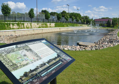 The Saint Anthony stormwater reuse facility captures and stores half a million gallons of stormwater that is used for irrigating City Hall and Central Park green spaces.