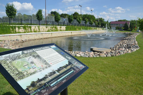 Educating the public about stormwater reuse is an important component of the proposed projects the Council is funding. Pictured here is an information display at the St. Anthony Village water reuse facility.