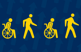 Icons of two people in wheelchairs and two people walking