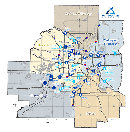 Transit Link Service Areas & Transit Hubs Map. LINK to larger PDF map.