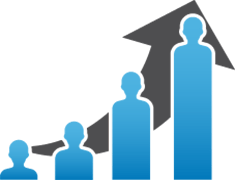 Icon graphic of a bar chart where the bars are people icons growing in size to indicate population growth