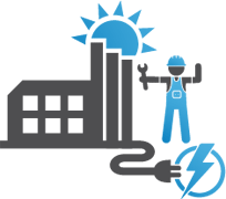 Icon graphic showing the Metro Plant, a maintenance worker, and a graphic of an electrical plug exiting the plant and plugging into an energy symbol