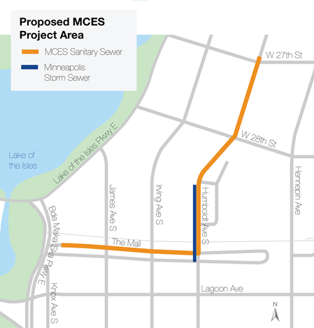 Map of proposed project area east of Lake of the Isles.  The Minneapolis storm sewer is located along Humboldt Avenue South for a short segment north of the Mall and south of West 28th Street.  The MCES sanitary sewer runs east from Bde Maka Ska Parkway East along the Mall, then north along Humboldt Avenue South to just past West 27th Street.