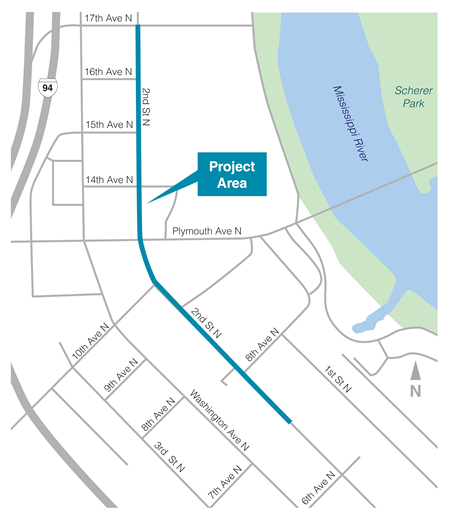 Map of project area along 2nd Street North in Minneapolis, between 17th Avenue North and south of 8th Avenue North.