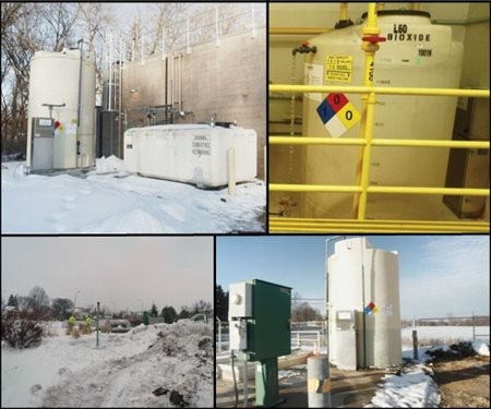 Clockwise from top left, exterior tank and control at a lift station, interior tank and control at a lift station, underground tank and control at a meter station, and aboveground tank and control at a meter station.