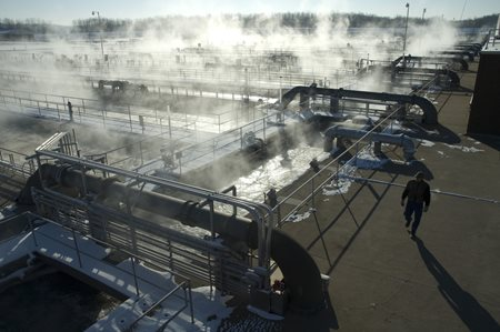Steam rising from Metro WasteWater Treatment Plant